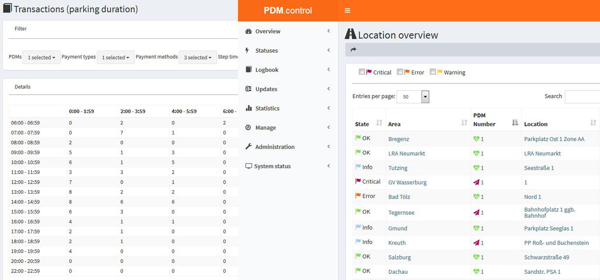 PDM control screenshot EN
